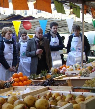 Place Monge Fresh Market, Paris. Open Air Amateur Cooking Classes!