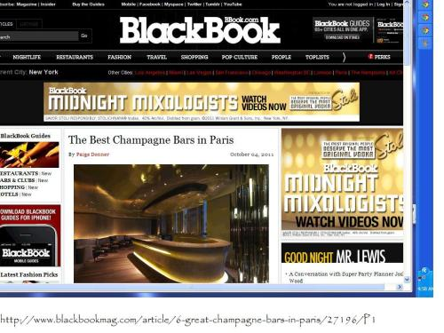 Black Book - Best Champagne Bars Paris by Paige Donner screenshot Oct 4 2011