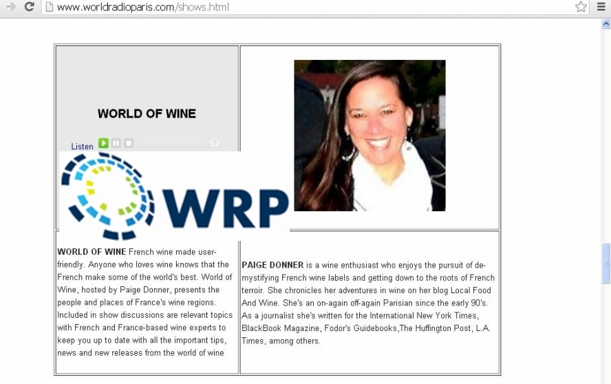Paige Donner - World Radio Paris - Program Host +logo
