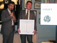 Champagne Collet prix du livre chef Régis Marcon left, champagne collet ceo Olivier Charriaud, right photo by Paige Donner copyright 2014