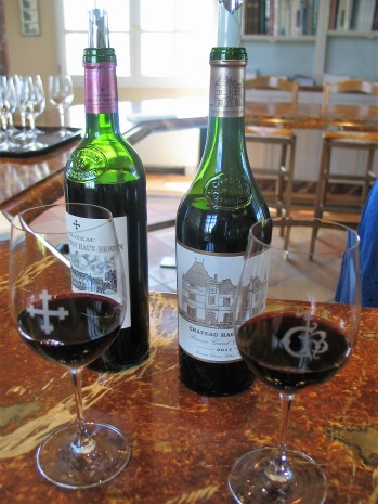 Tasting room glasses Chateau Haut Brion photo by Paige Donner copyright 2017 IMG_2653